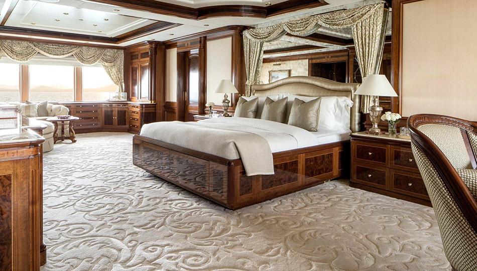 Bespoke carpet on superyacht