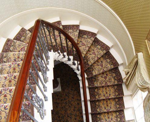 Bespoke carpet on staircase in luxury residence